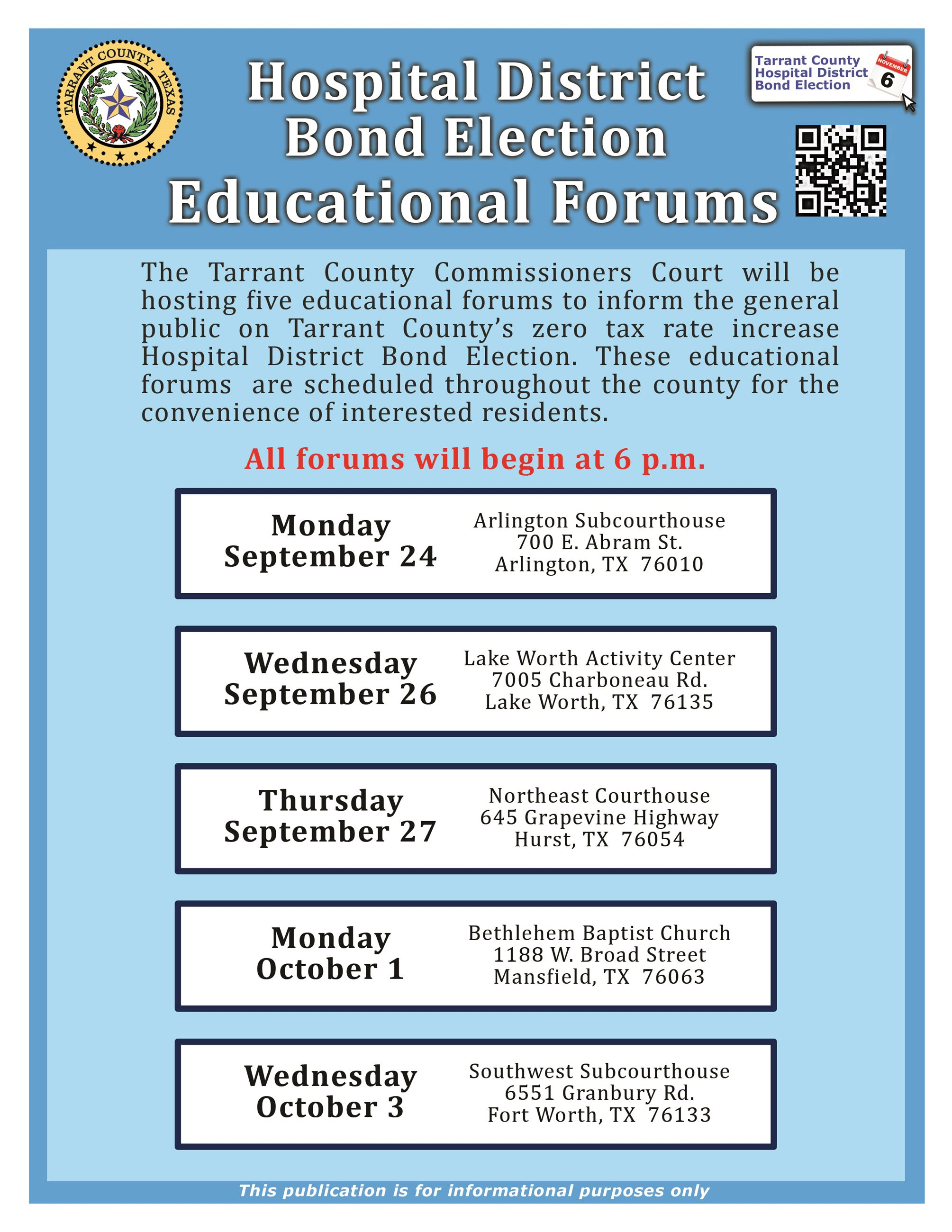Hospital District Bond Election - Educational Forums Dates